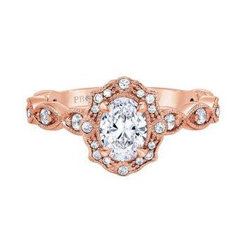Bella Vintage Ring in Rose Gold - 3/4ct Oval Center