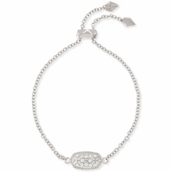Elaina Silver Adjustable Chain Bracelet In Silver Filigree Mix