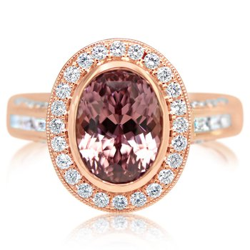 Lotus Garnet Halo Ring
