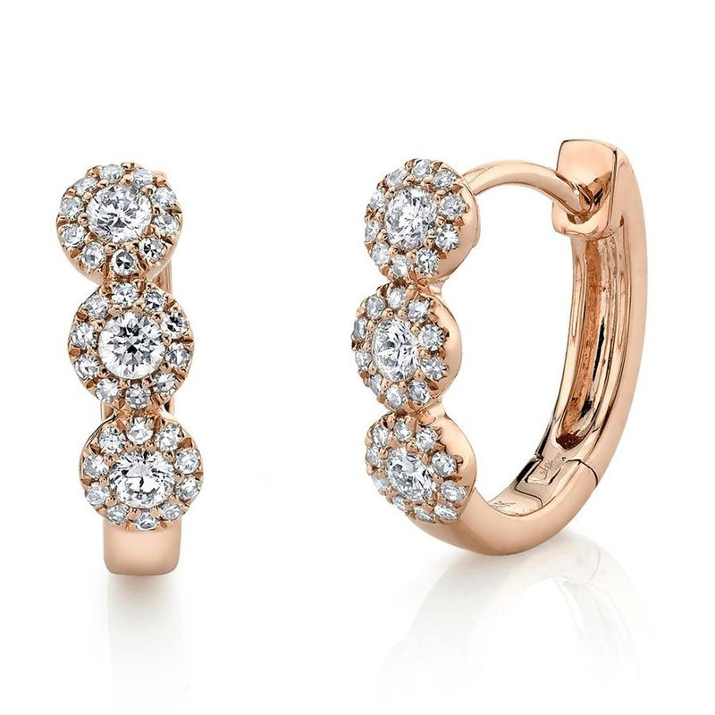Lasker Diamond Fashion Diamond Halo Huggie Earrings