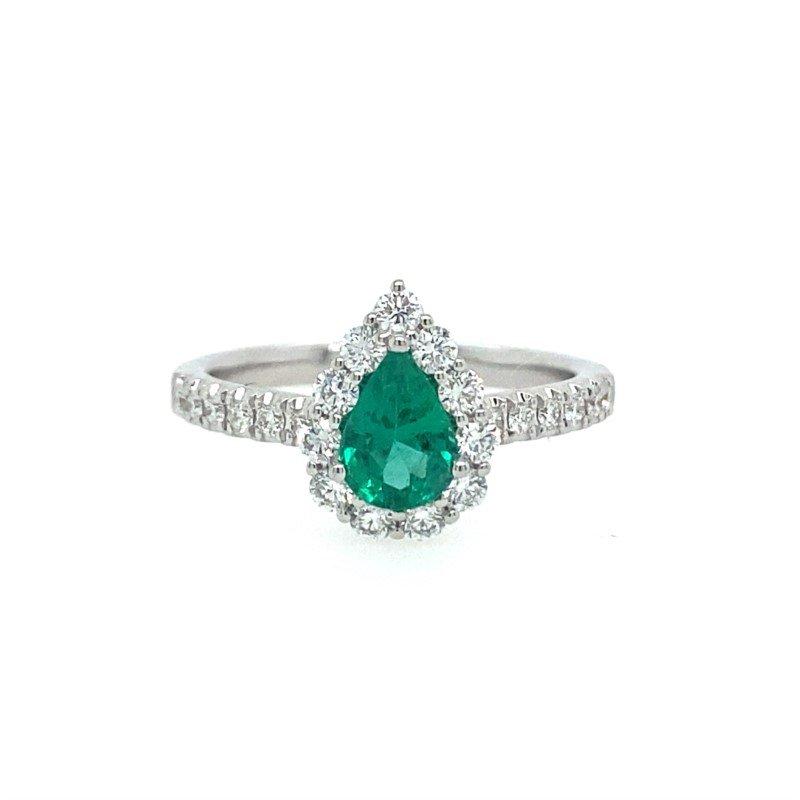 Lasker Gemstone Emerald Halo Ring