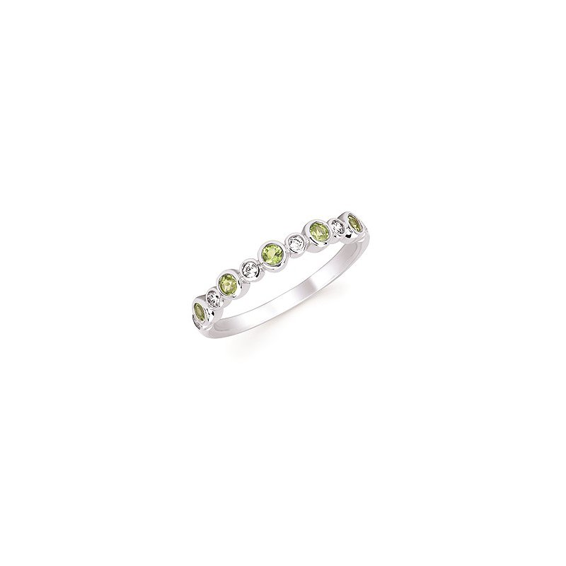 Lasker Gemstone August Stackable Birthstone and Diamond Band