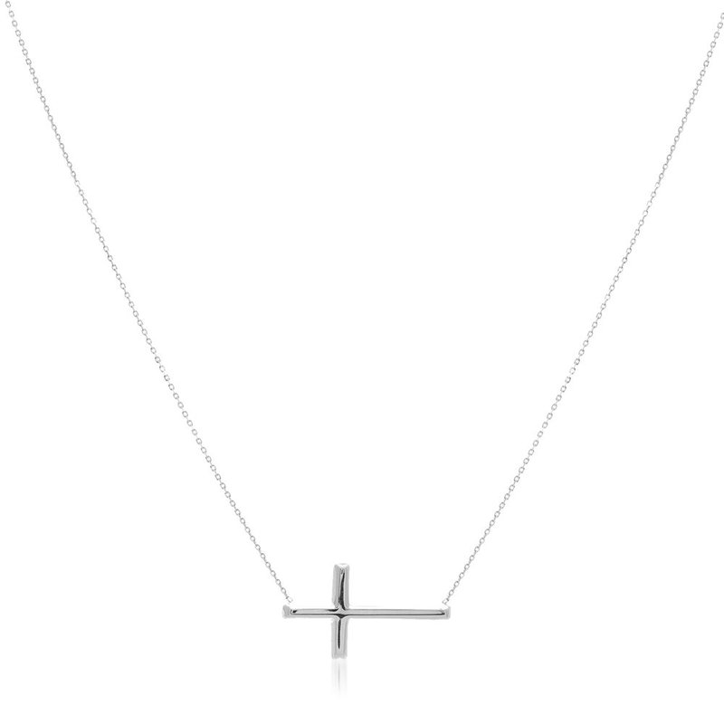 """Lasker Gold Fashion Sideways Cross Necklace - 18"""""""