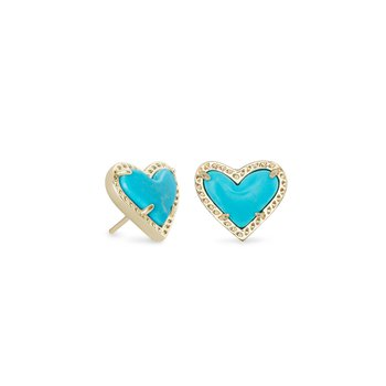 Ari Heart Earrings In Turquoise Magnesite