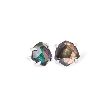Ellms Bright Silver Stud Earrings In Black Mother-Of-Pearl
