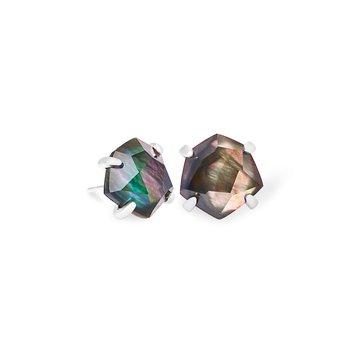 Ellms Bright Silver Stud Earrings In Black Mother-Of-Pearl