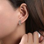 Gabriel Fashion 14K Yellow-White Gold 10mm Wide Diamond Huggie Earrings