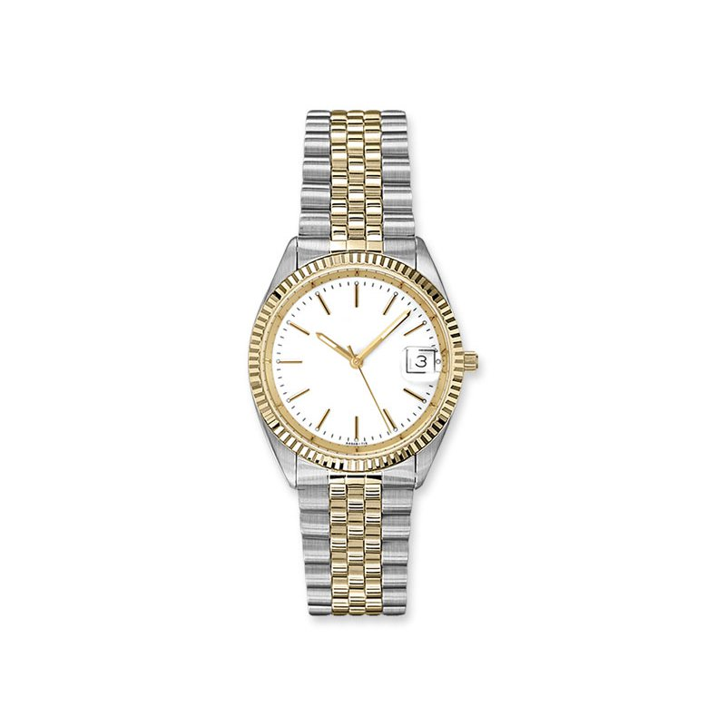 Lasker's Timepiece Collection Lasker Steel and Gold Toned Timepiece