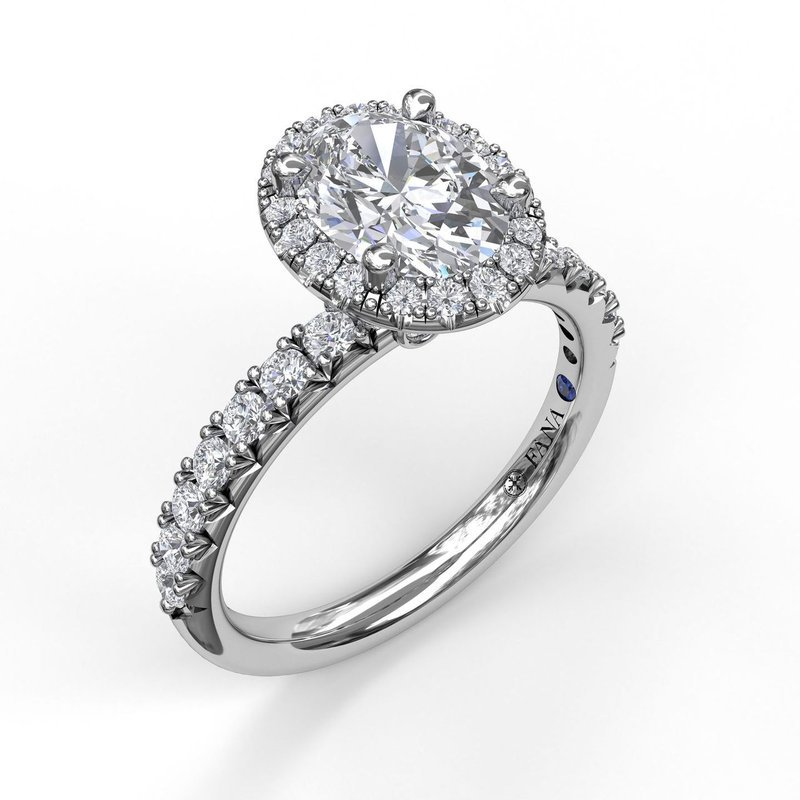 Fana Oval Halo Engagement Ring Mounting