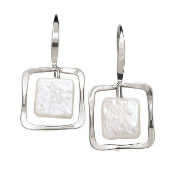 Zenith Square Earrings with Pearl