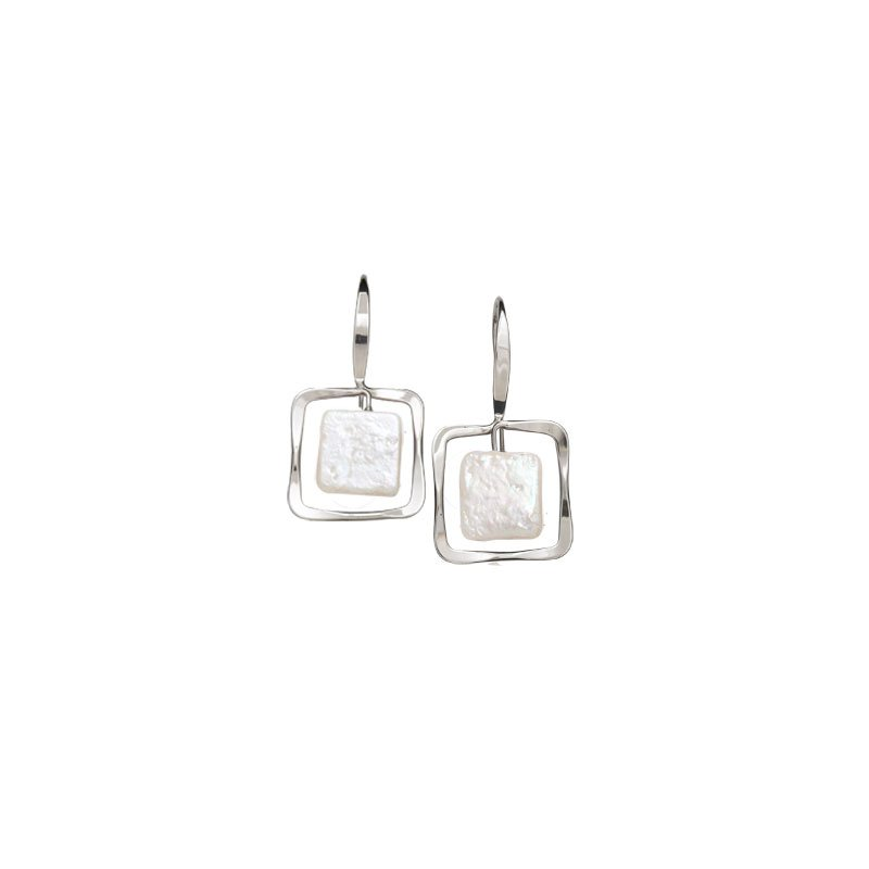 E.L. Designs Zenith Square Earrings with Pearl