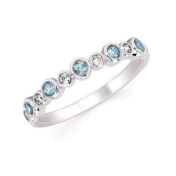 December Stackable Birthstone and Diamond Band