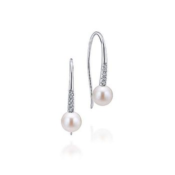 14K White Gold Diamond and Cultured Pearl Drop Earrings