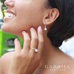 Gabriel Fashion 14K White Gold Diamond and Cultured Pearl Drop Earrings