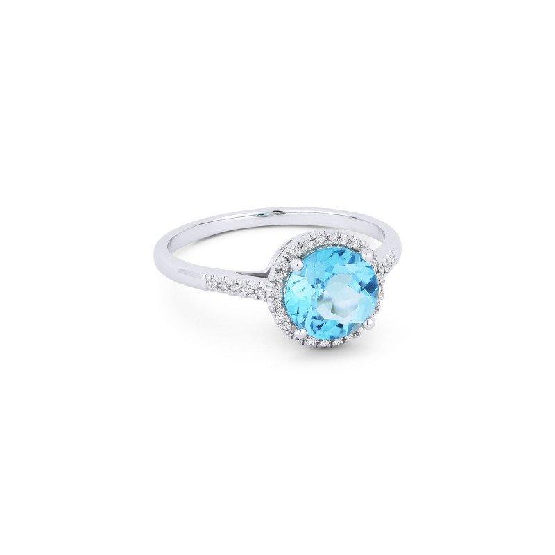 Lasker Gemstone Center of My World Blue Topaz Halo Ring