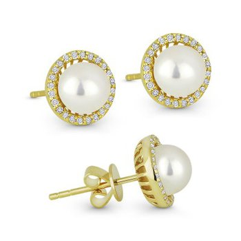 Diamond Halo Pearl Earrings