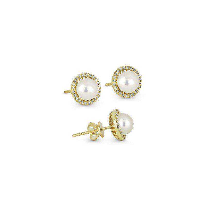 Lasker Pearl Fashion Diamond Halo Pearl Earrings