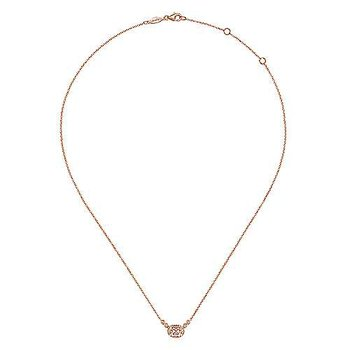 14K Rose Gold Oval Morganite Pendant Necklace with Diamond Accents