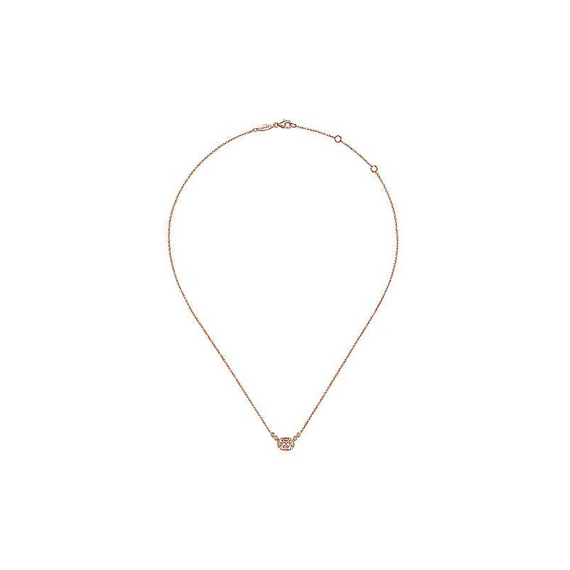 Gabriel Fashion 14K Rose Gold Oval Morganite Pendant Necklace with Diamond Accents