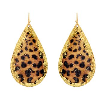 Large Leopard Teardrop Earrings