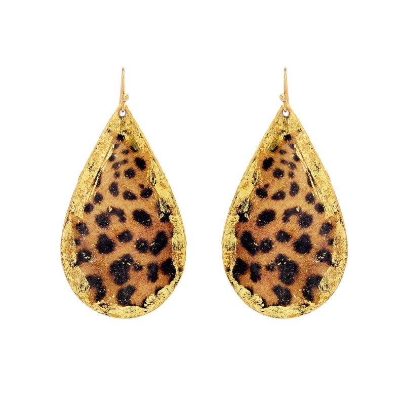 Evocateur Large Leopard Teardrop Earrings