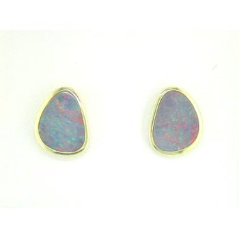 Australian Opal Doublet Bezel Set Stud Earrings