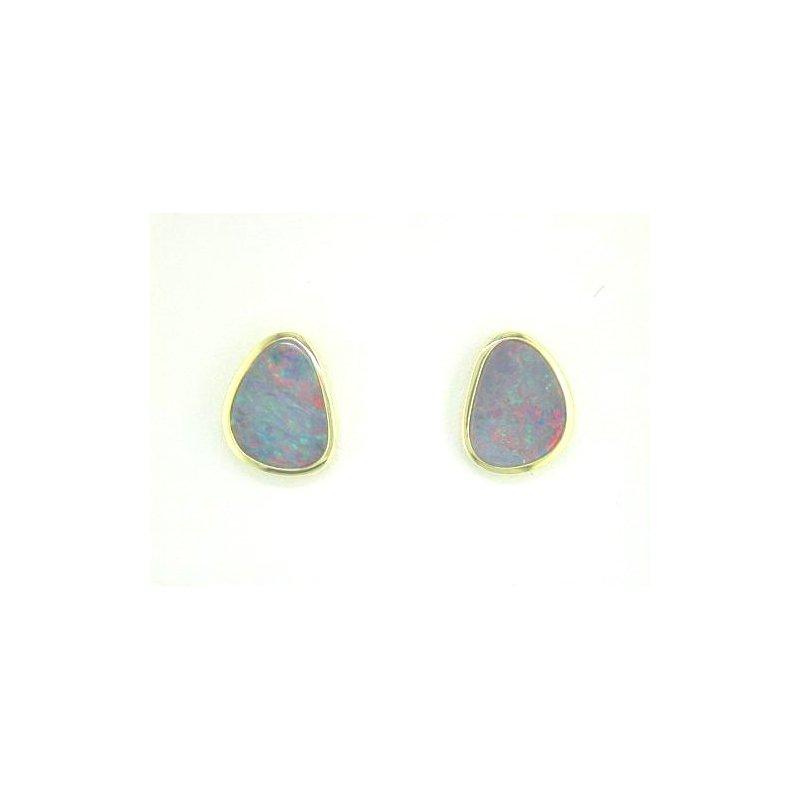 Lasker Gemstone Australian Opal Doublet Bezel Set Stud Earrings