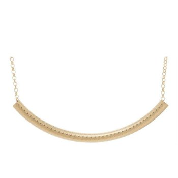 Classic Gold Filled Bliss Bar Textured Necklace 16""