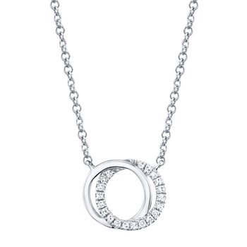 14K White Gold And Diamond Circle Necklace