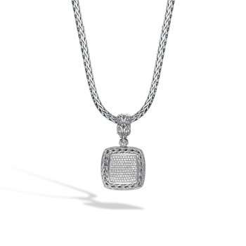 Classic Chain Diamond Pave Square Pendant