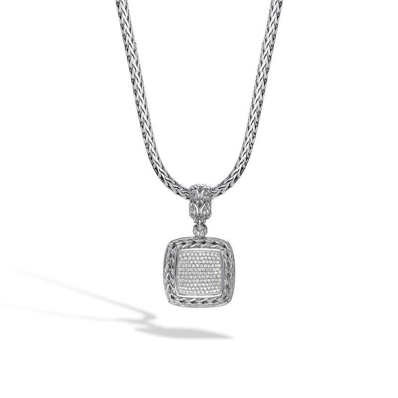 JOHN HARDY Classic Chain Diamond Pave Square Pendant