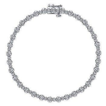 14K White Gold Buttercup Set Diamond Tennis Bracelet