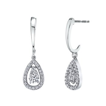 Raindrop Halo Dangle Earrings - .75cttw