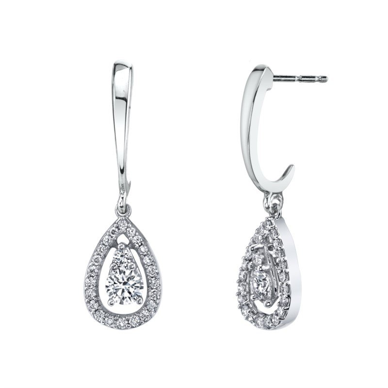 Lasker Diamond Fashion Raindrop Halo Dangle Earrings - .75cttw
