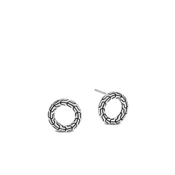 Classic Chain Silver Round Stud Earrings