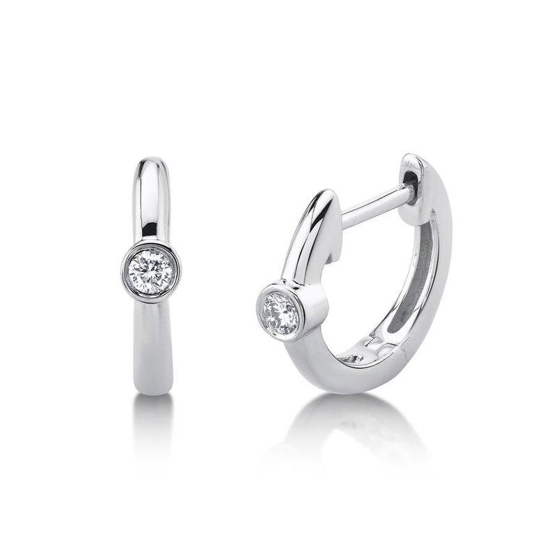 Lasker Diamond Fashion One & Only Bezel Huggie Earrings