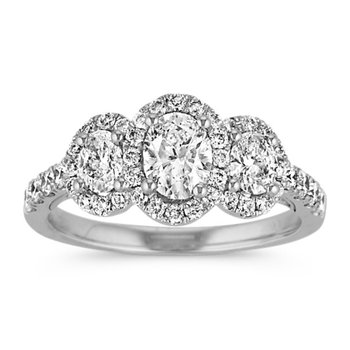 Oval Halo 3-Stone Ring