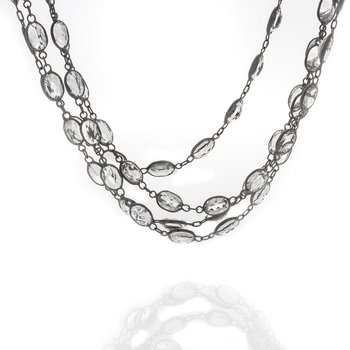White topaz Station Necklace