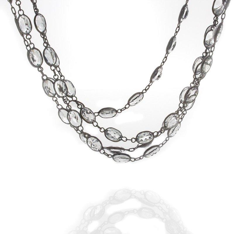 Lasker Gemstone White topaz Station Necklace