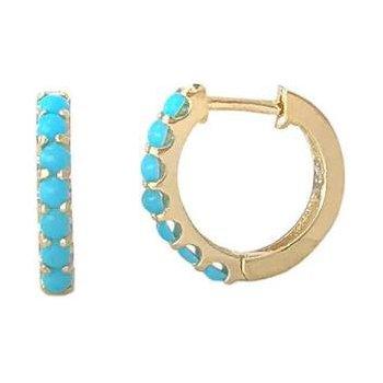 Composite Turquoise Huggie Earrings