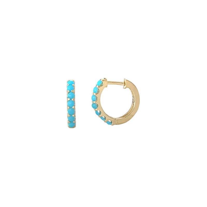 Lasker Gemstone Composite Turquoise Huggie Earrings