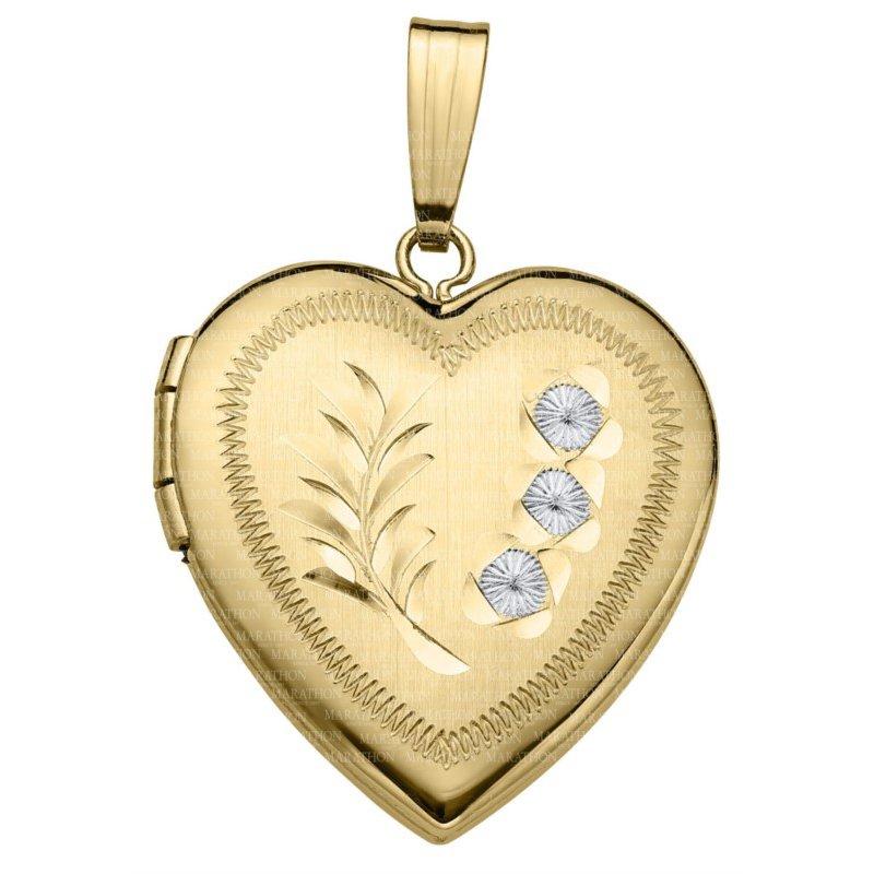 Lasker Gold Fashion 20x18mm Engraved Heart Locket