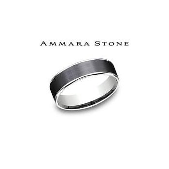 Ammara Stone Band - Black Titanium & White Gold