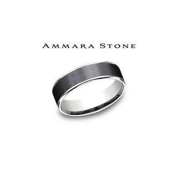 Ammara Stone Band - Black Titanium & White Gold