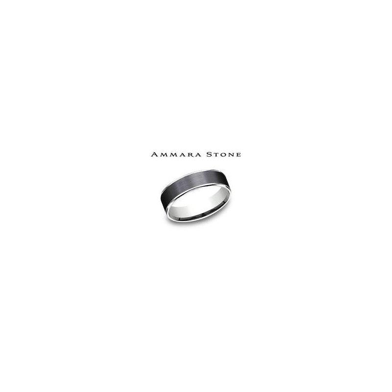 Lasker Men's Ammara Stone Band - Black Titanium & White Gold