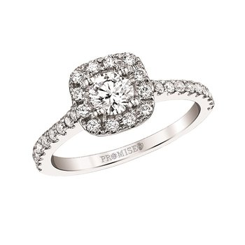 Selena Halo Ring - 3/8ct Center Diamond