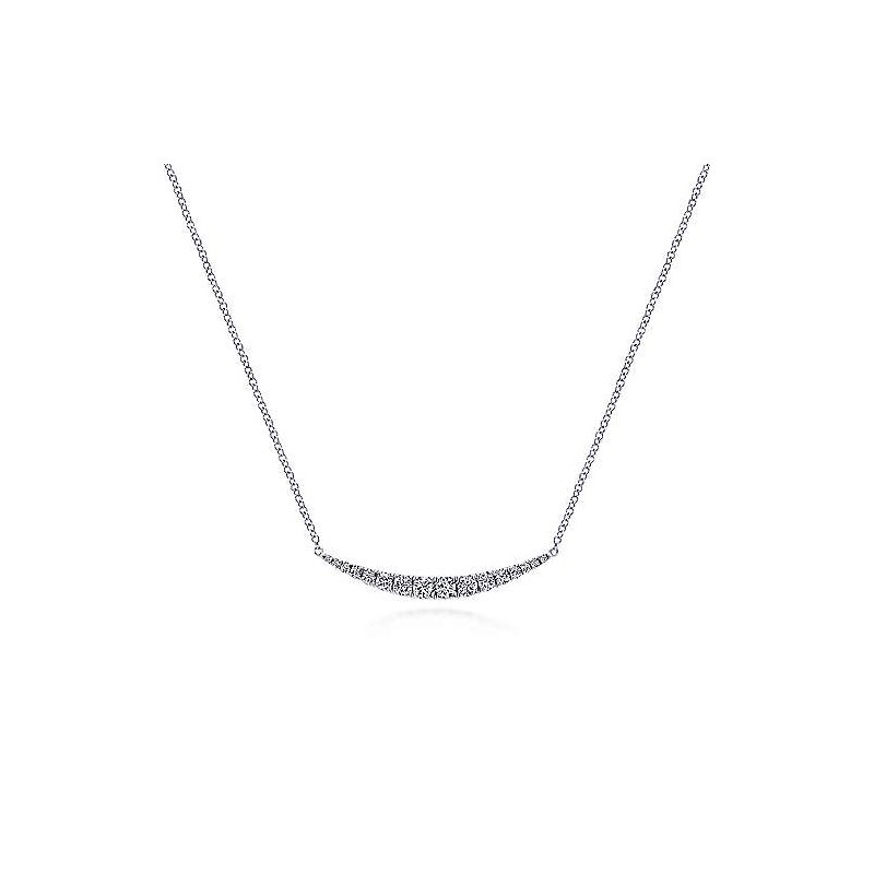 Gabriel Fashion 14K White Gold Curved Diamond Bar Necklace