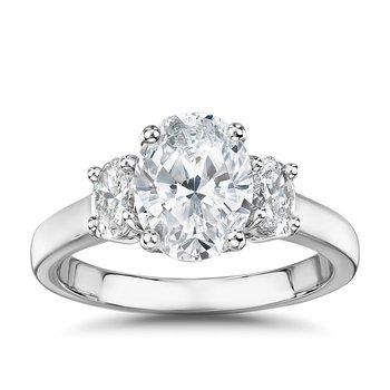 Classic Oval Diamond Past-Present-Future Ring