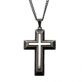 Antiqued Stainless Steel Cross