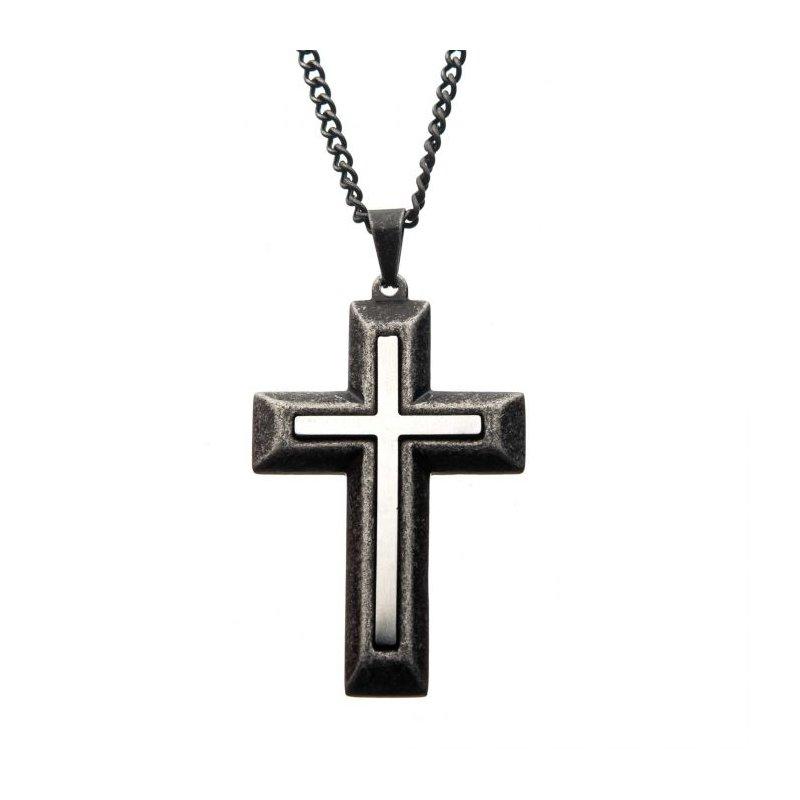 Lasker Men's Antiqued Stainless Steel Cross